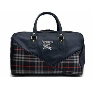 Auth Burberry  Boston Travel Bag Navy Blue